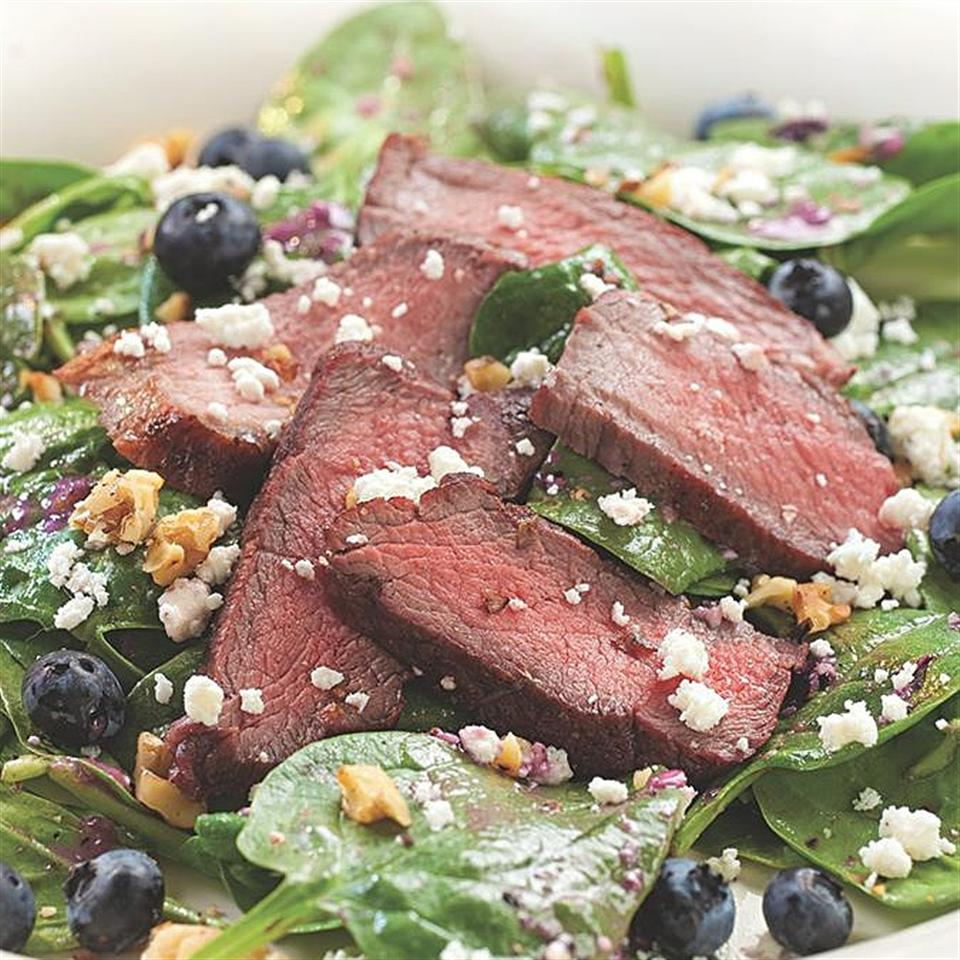 Spinach Salad with Steak & Blueberries EatingWell Test Kitchen