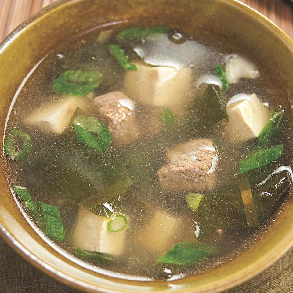 Korean meals always include soups--like this mild one based on vitamin-rich wakame seaweed, the same kind often used in miso soup. Source: EatingWell Magazine, July/August 2010