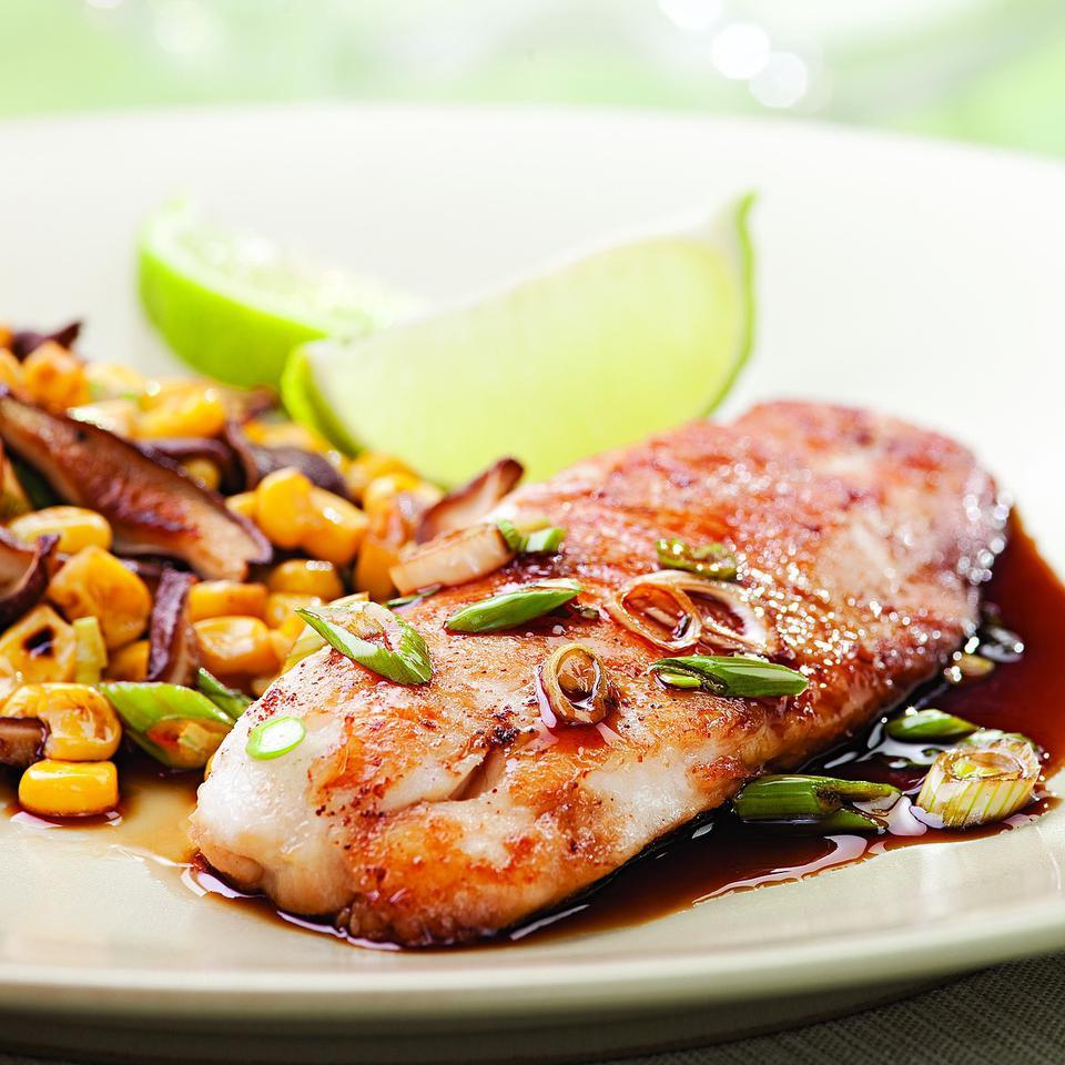 Chinese five-spice powder, soy sauce and brown sugar make a quick glaze for tilapia in this easy recipe for two. Source: EatingWell Magazine, July/August 2010