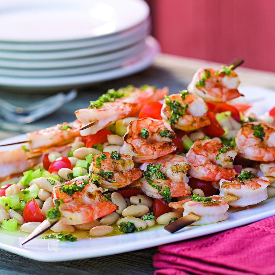 Grilled Shrimp Skewers over White Bean Salad EatingWell Test Kitchen