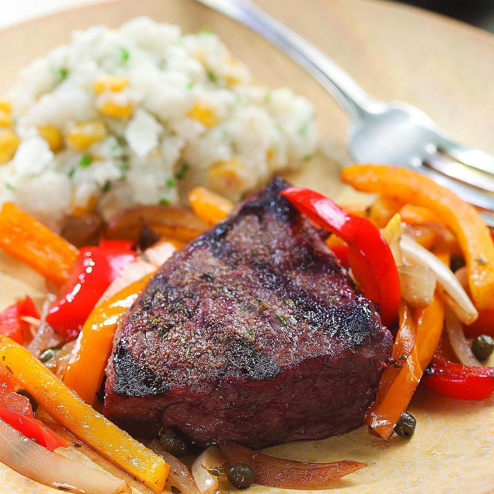 Grilled Steak with Pepper Relish for Two EatingWell Test Kitchen