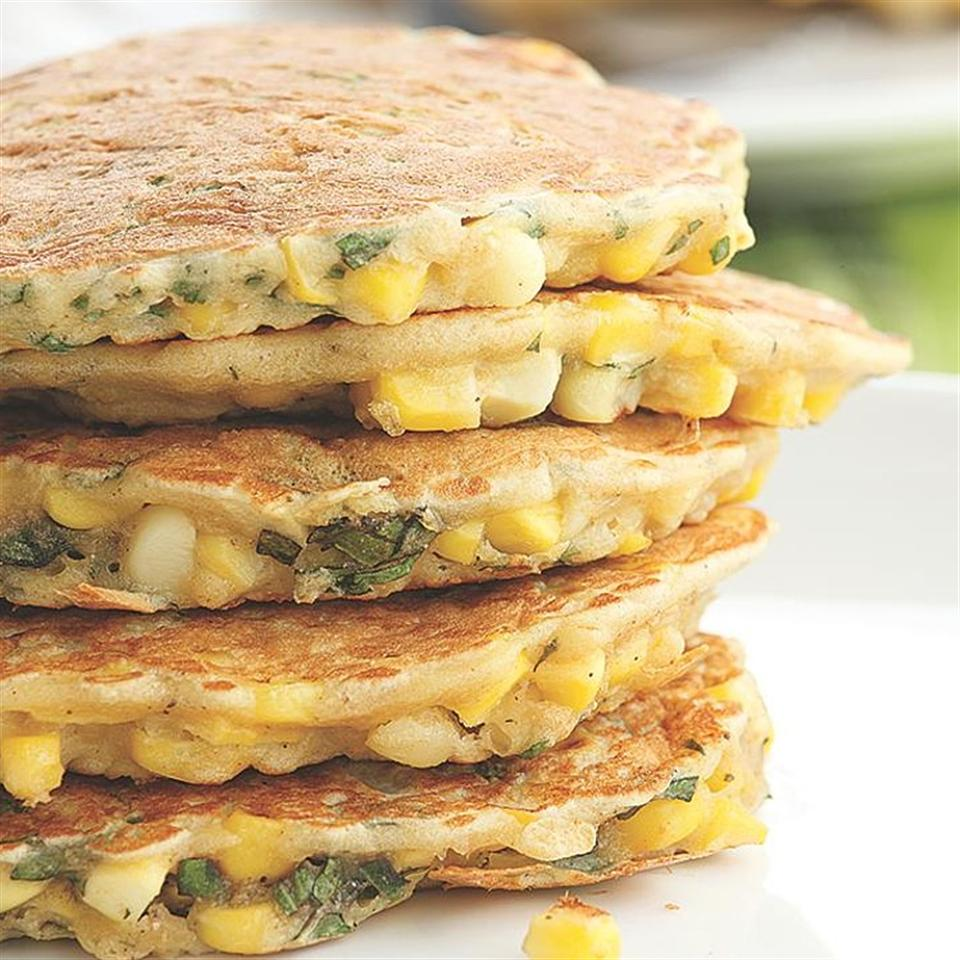 Try these savory corn-and-basil pancakes as a side dish with barbecued chicken or grilled steak. Source: EatingWell Magazine, July/August 2010