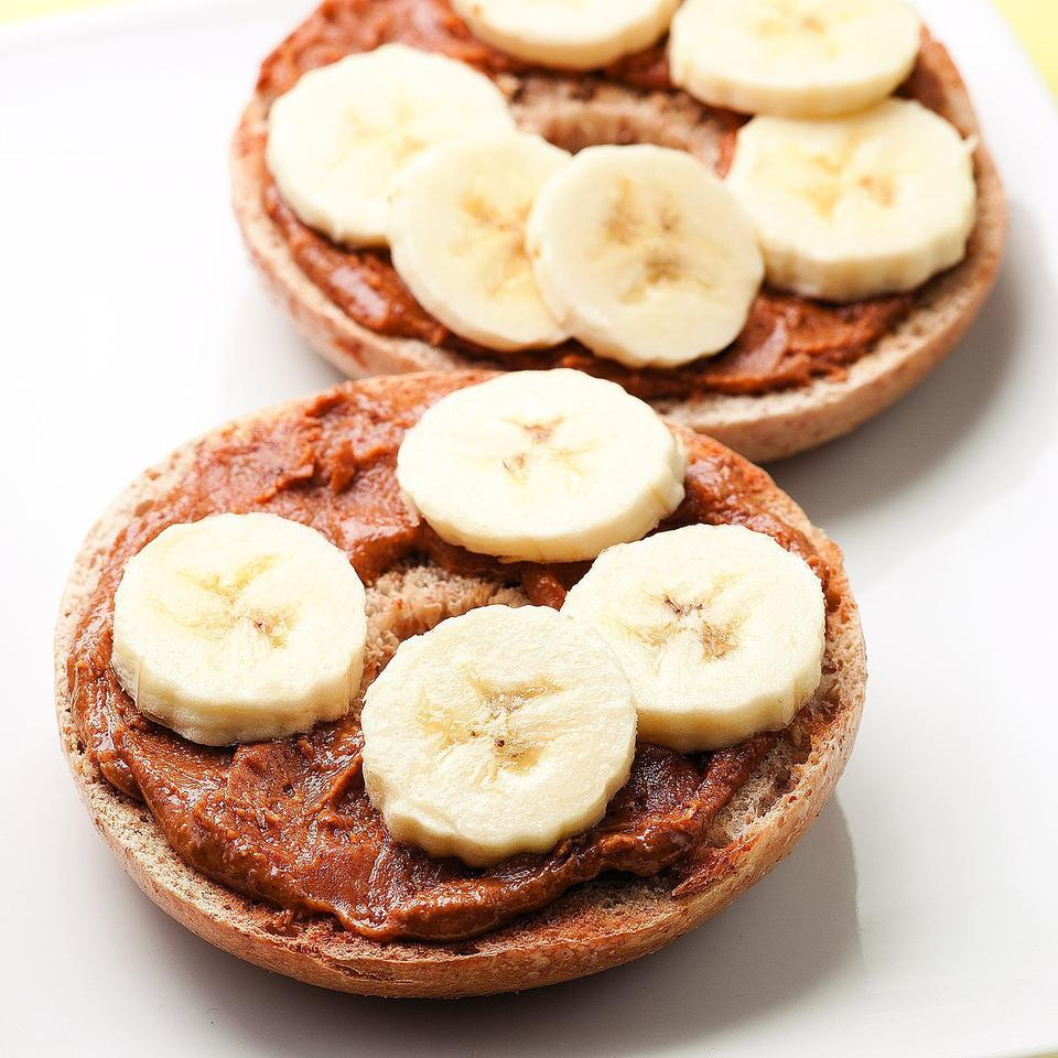 Talk about a grab-and-go breakfast: this bagel topped with nut butter and banana slices is ready in just 5 minutes and easy to eat on the run. Source: EatingWell Magazine, September/October 2010