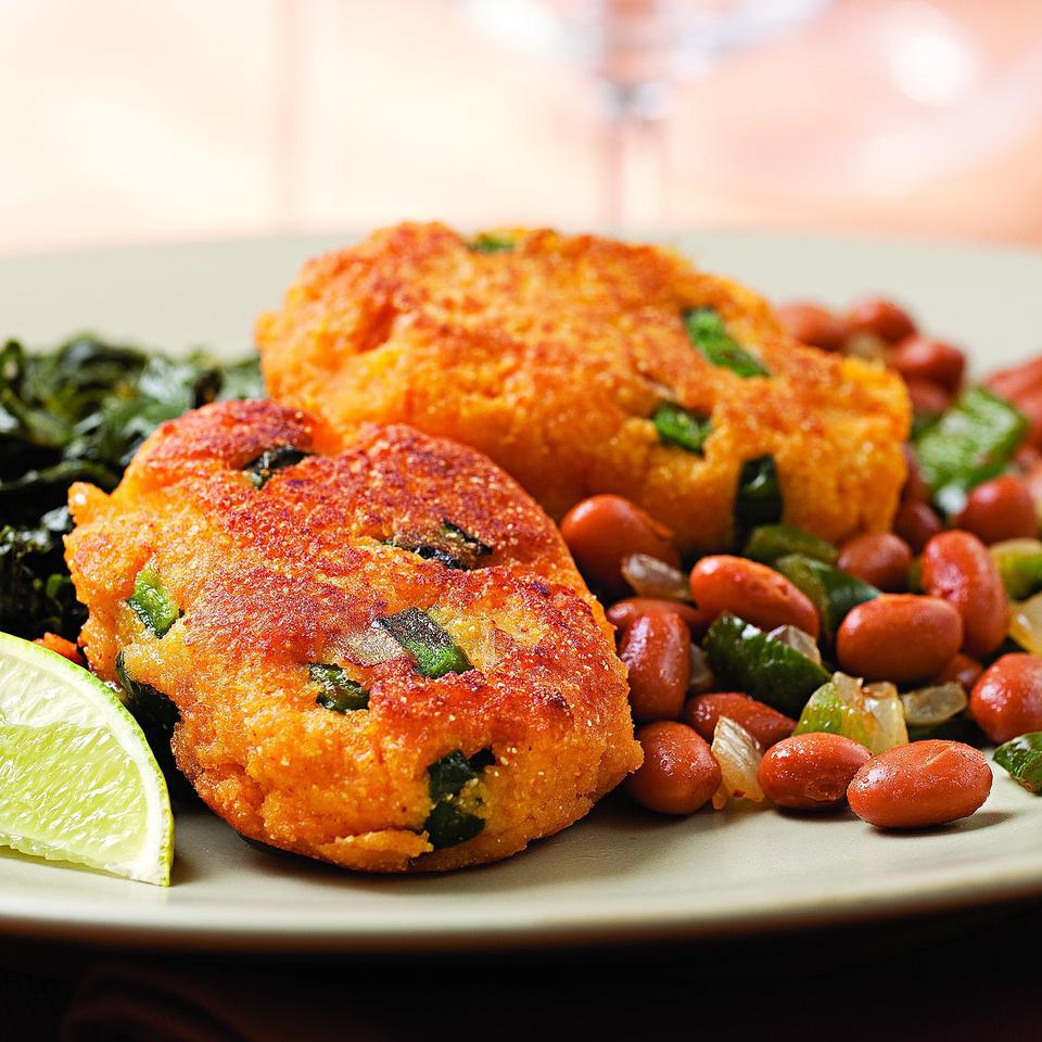 Sweet Potato Fritters with Smoky Pinto Beans EatingWell Test Kitchen