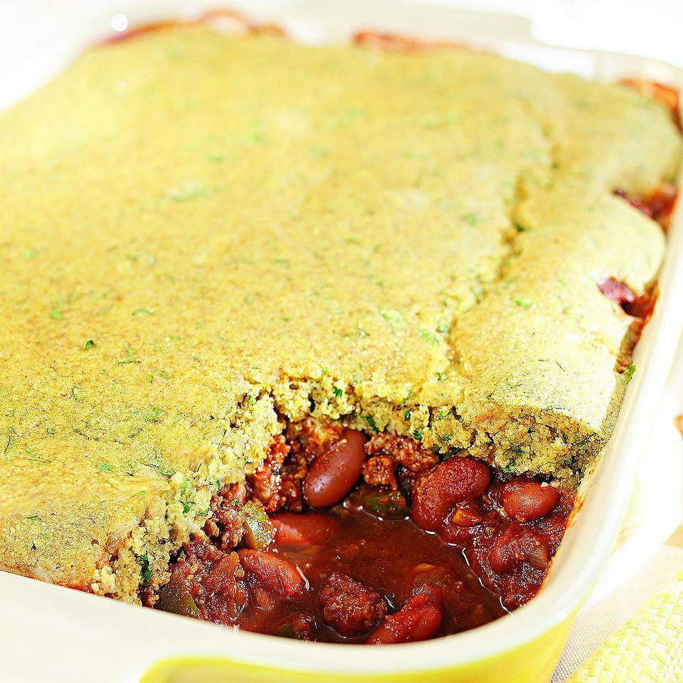Here's a fun way to serve chili and cornbread together. Don't let the ingredient list intimidate you--this casserole is easy to make and a real crowd pleaser. Source: EatingWell Magazine, September/October 2010