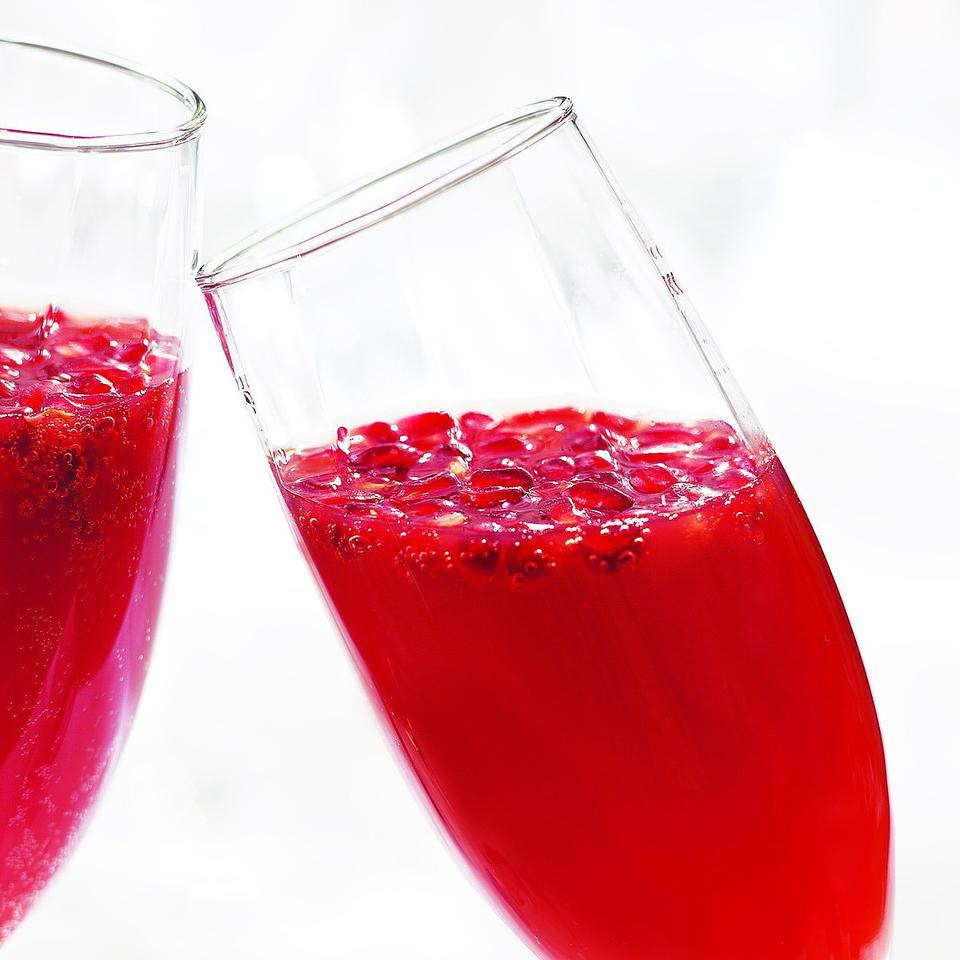 This twist on the mimosa is made with blood orange juice and pomegranate juice. It's a special way to start any weekend or toast the holiday season.