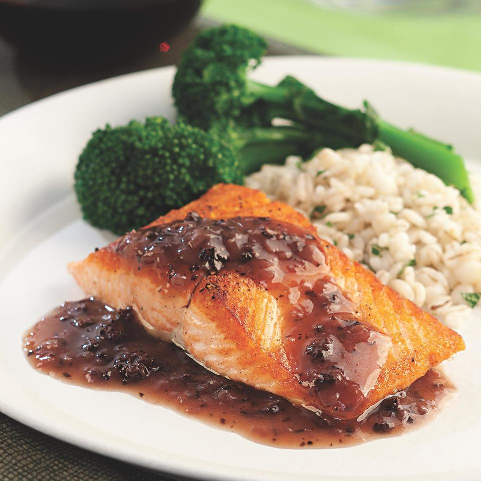 Salmon with Red Wine-Morel Sauce EatingWell Test Kitchen