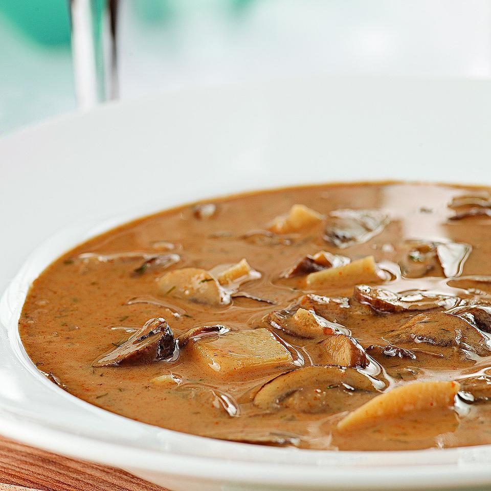 Mushroom-soup lovers, this soup is for you! Russet potatoes make it hearty, and dill and paprika add plenty of flavor. We skip the generous amount of full-fat sour cream and butter typically used in creamy mushroom soups. Serve with a green salad and warm pumpernickel bread.