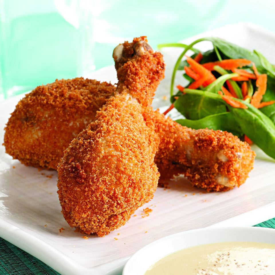Crispy Baked Drumsticks with Honey-Mustard Sauce EatingWell Test Kitchen