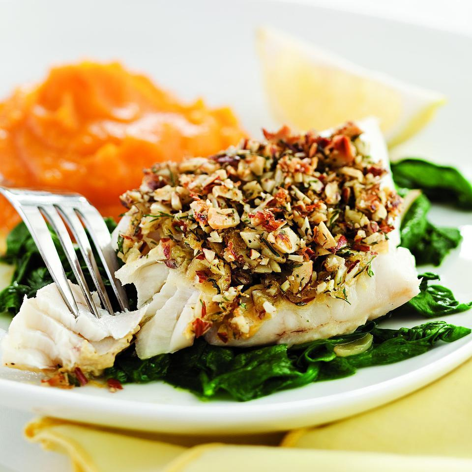 Almond-&-Lemon-Crusted Fish with Spinach Melissa Pasanen
