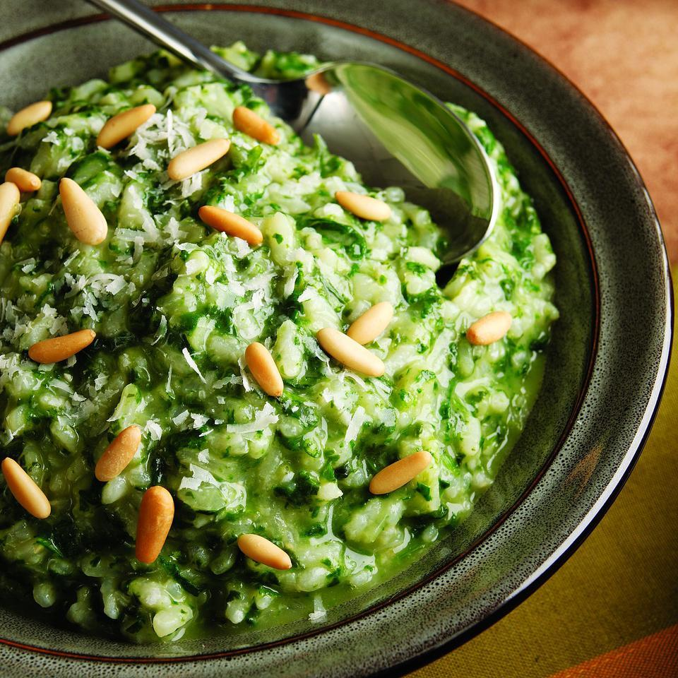 Serve this pretty, pesto-flavored risotto alongside roasted chicken or pork roast or serve with a big salad for a light dinner. We add a splash of wine along with each addition of broth to give the dish a more pronounced wine flavor. If you'd prefer the wine to be more subtle, add the entire cup at the end of Step 3 and cook, stirring, until the liquid is gone, then begin adding the broth. You can substitute more broth in place of the wine. Source: EatingWell Magazine, January/February 2011