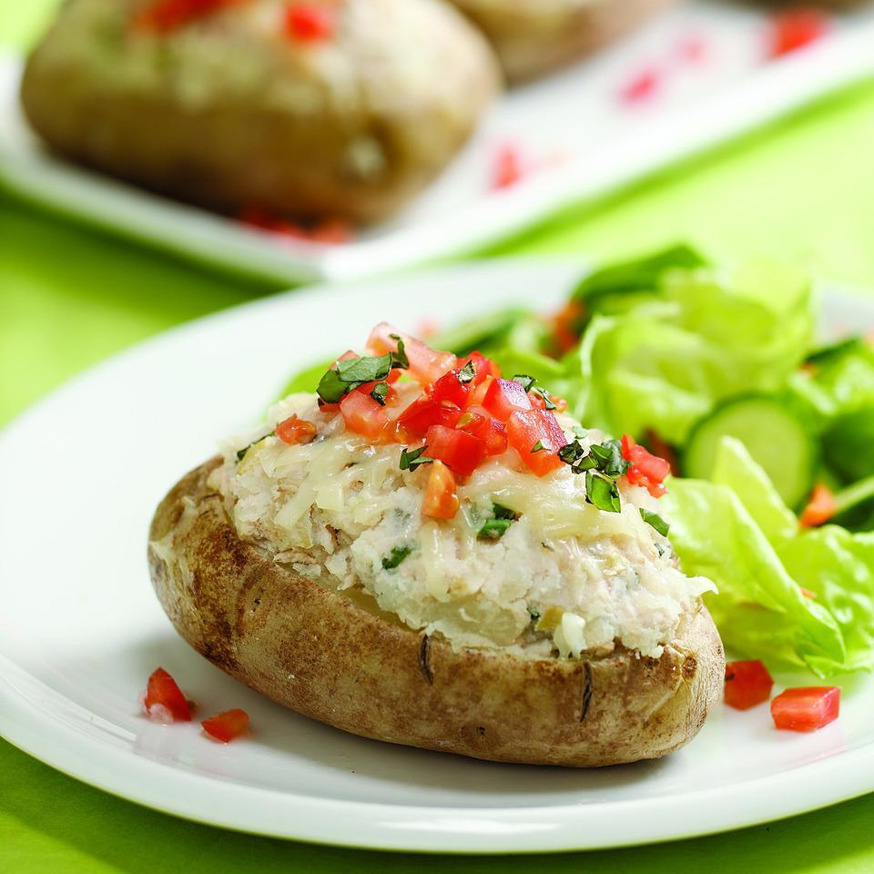 Tuna, Artichoke & Basil Stuffed Potatoes EatingWell Test Kitchen