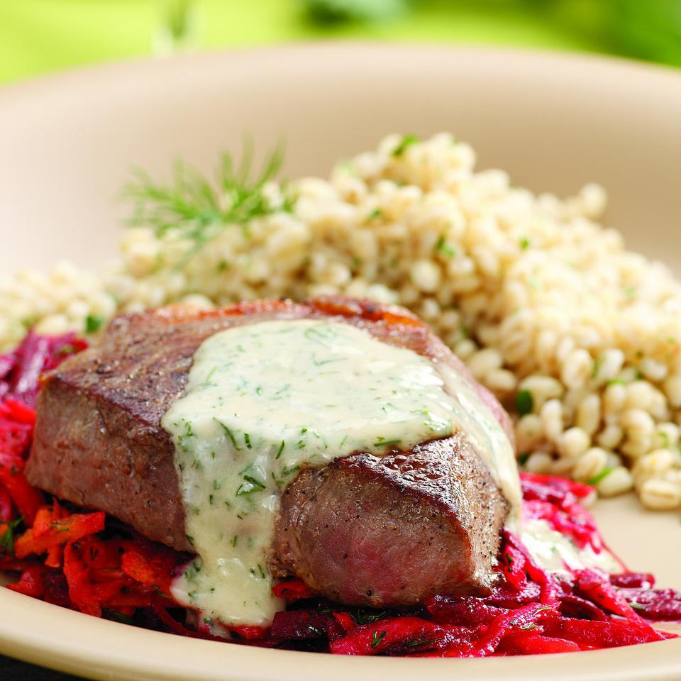 Seared Strip Steaks with Horseradish-Root Vegetable Slaw EatingWell Test Kitchen