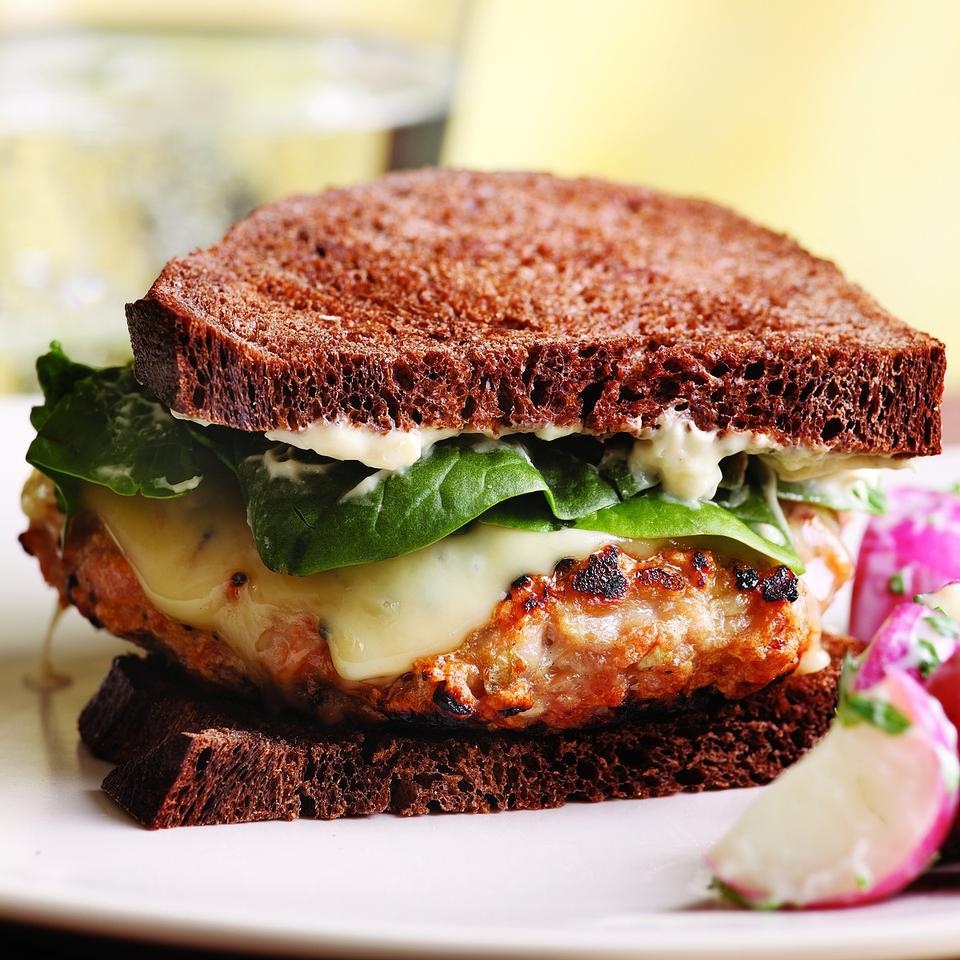 Chicken Cordon Bleu Burger EatingWell Test Kitchen