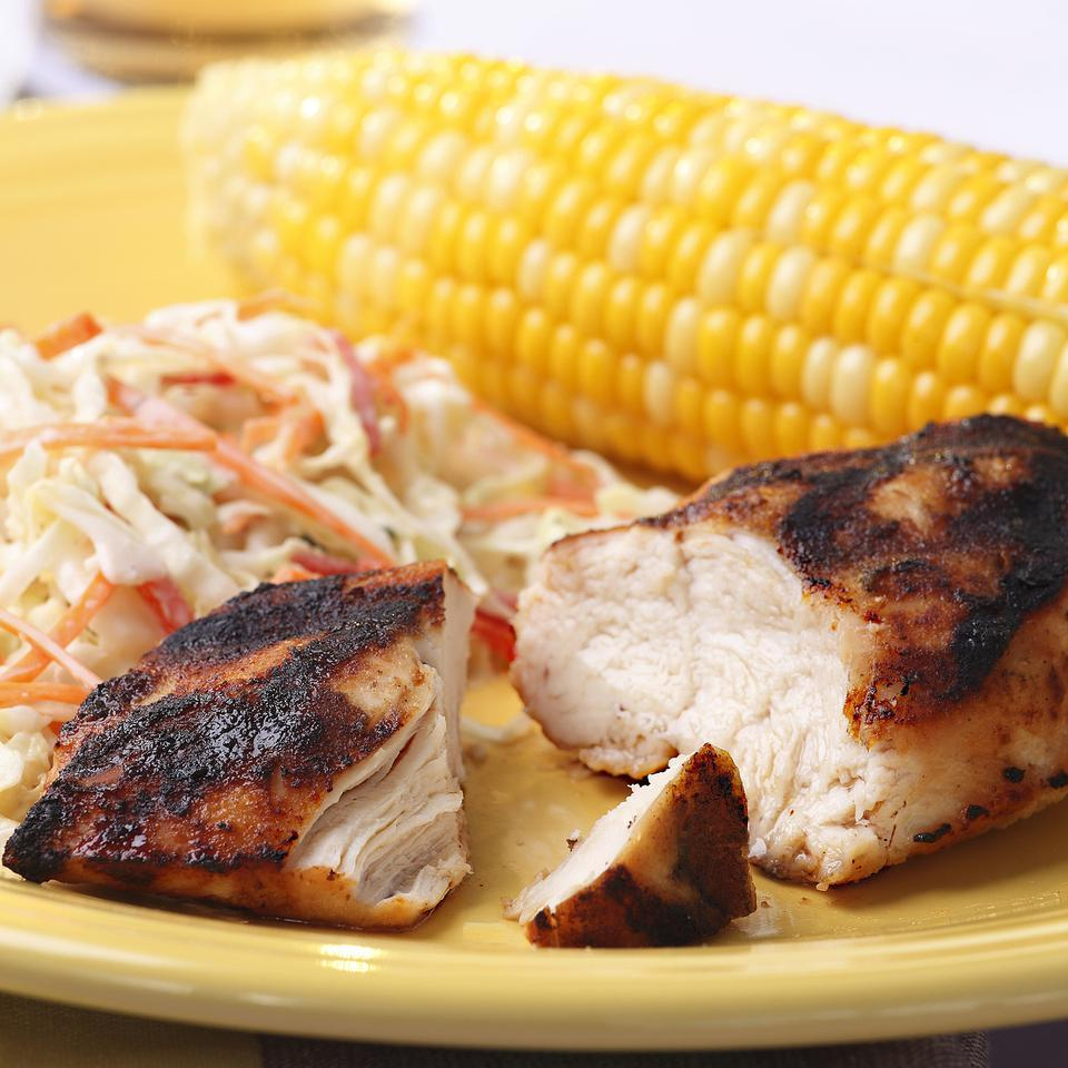 This sweet and savory rub for grilled chicken relies on ingredients you most likely have on hand already--brown sugar, dry mustard and onion powder--making it a quick recipe for a night when you're not sure what you're making for dinner.