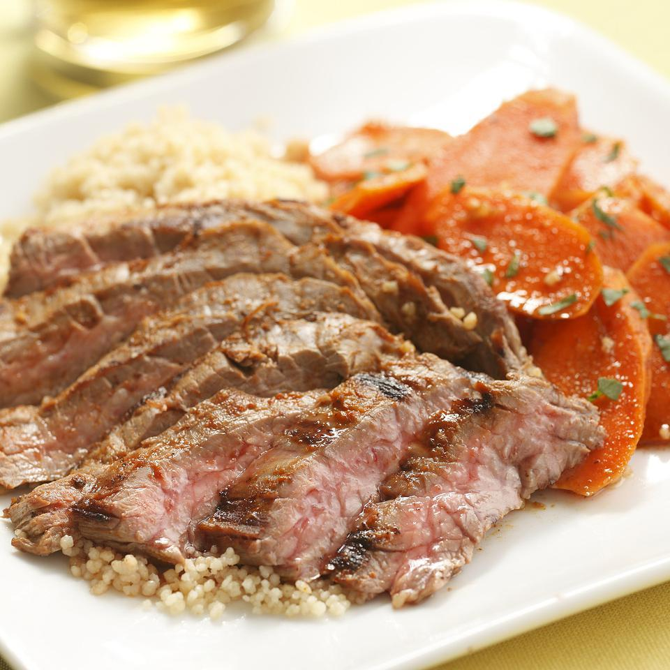 Harissa-Rubbed Steak & Carrot Salad Hilary Meyer