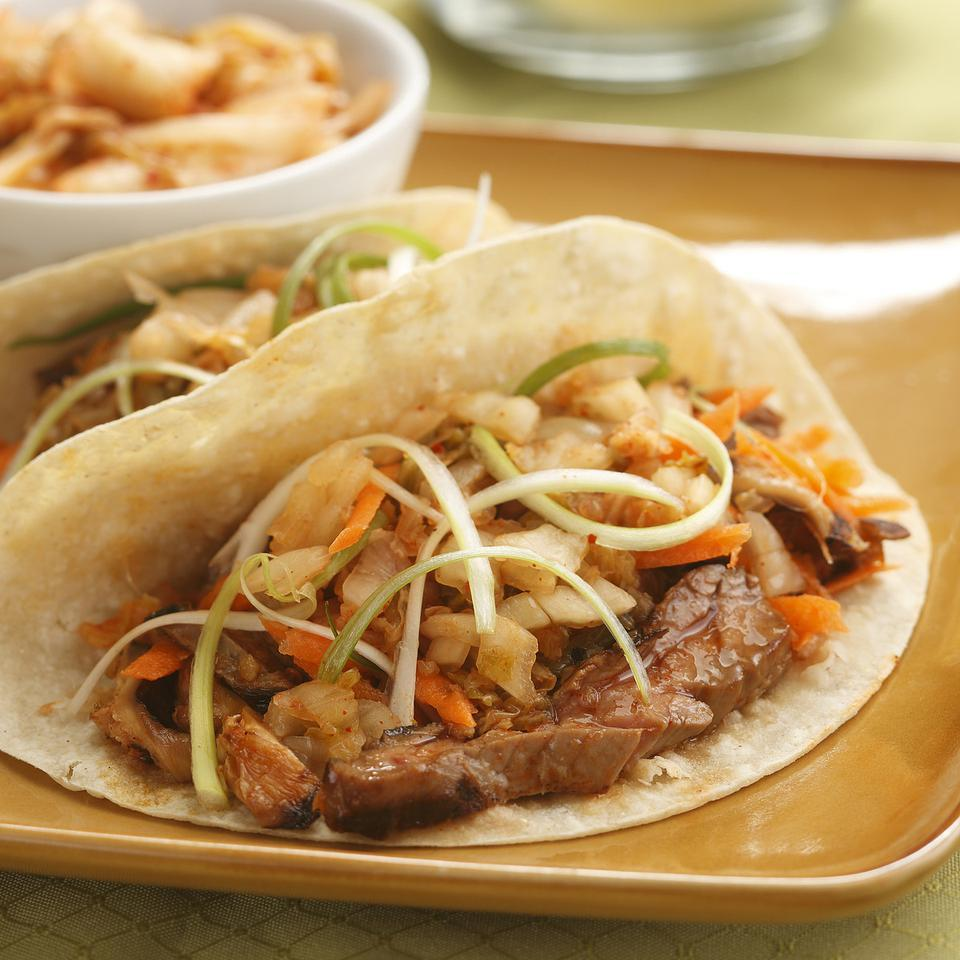 Korean Steak & Mushroom Tacos with Kimchi for Two Hilary Meyer