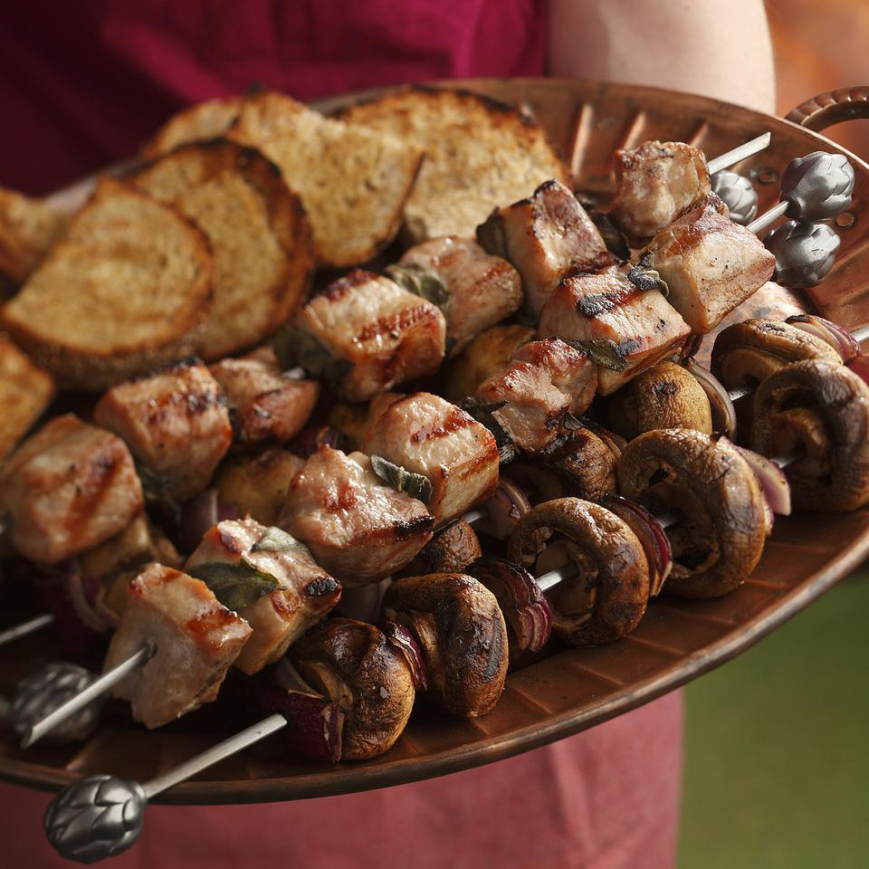 Pork Spedini with Mushrooms & Bruschetta Bruce Aidells