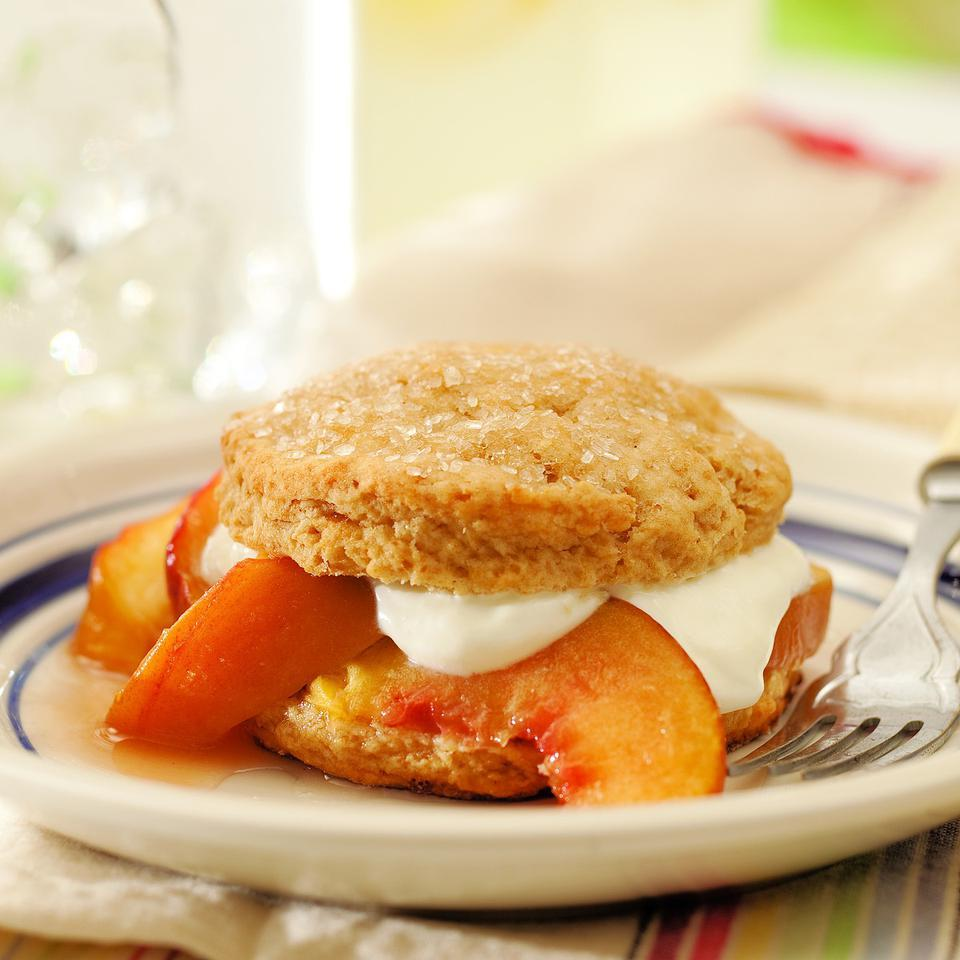 Brown sugar-sweetened shortcakes with fresh, ripe peaches and a lightly sweetened cream topping that's reminiscent of crème fraîche is the perfect ending to a summer meal.Source: EatingWell Magazine, July/August 2011