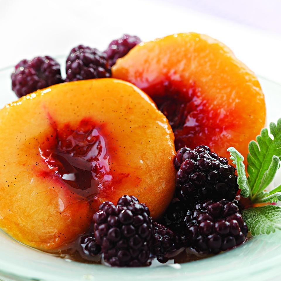 Lavender-Poached Peaches & Blackberries EatingWell Test Kitchen
