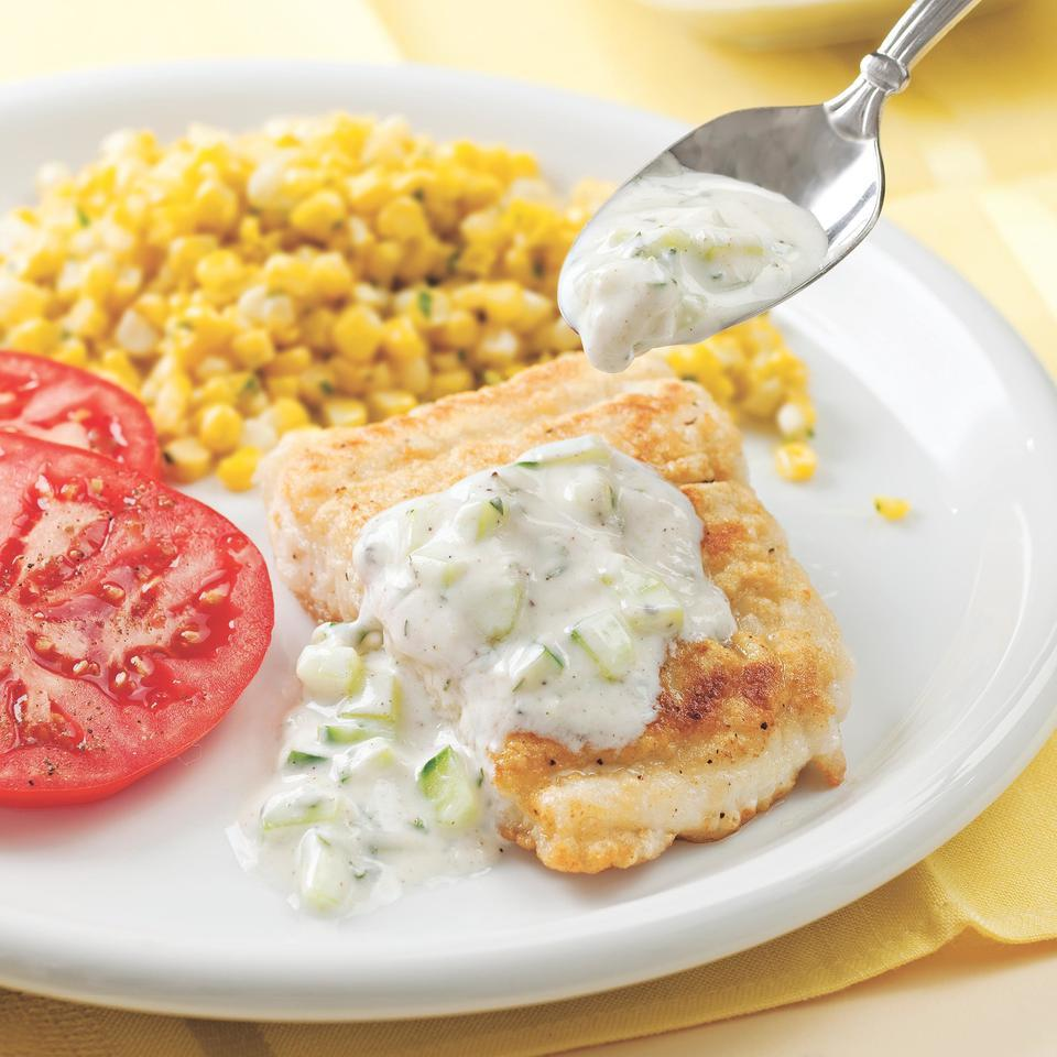 Fish Fillets with Cucumber Raita EatingWell Test Kitchen