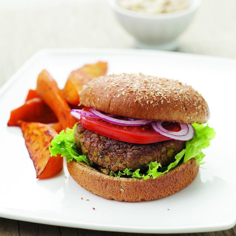 Walnuts and fresh marjoram accent these vegan lentil burgers. Substitute oregano for marjoram if you like. Serve with a smear of whole-grain mustard and roasted sweet potato wedges. Source: EatingWell Magazine, September/October 2011