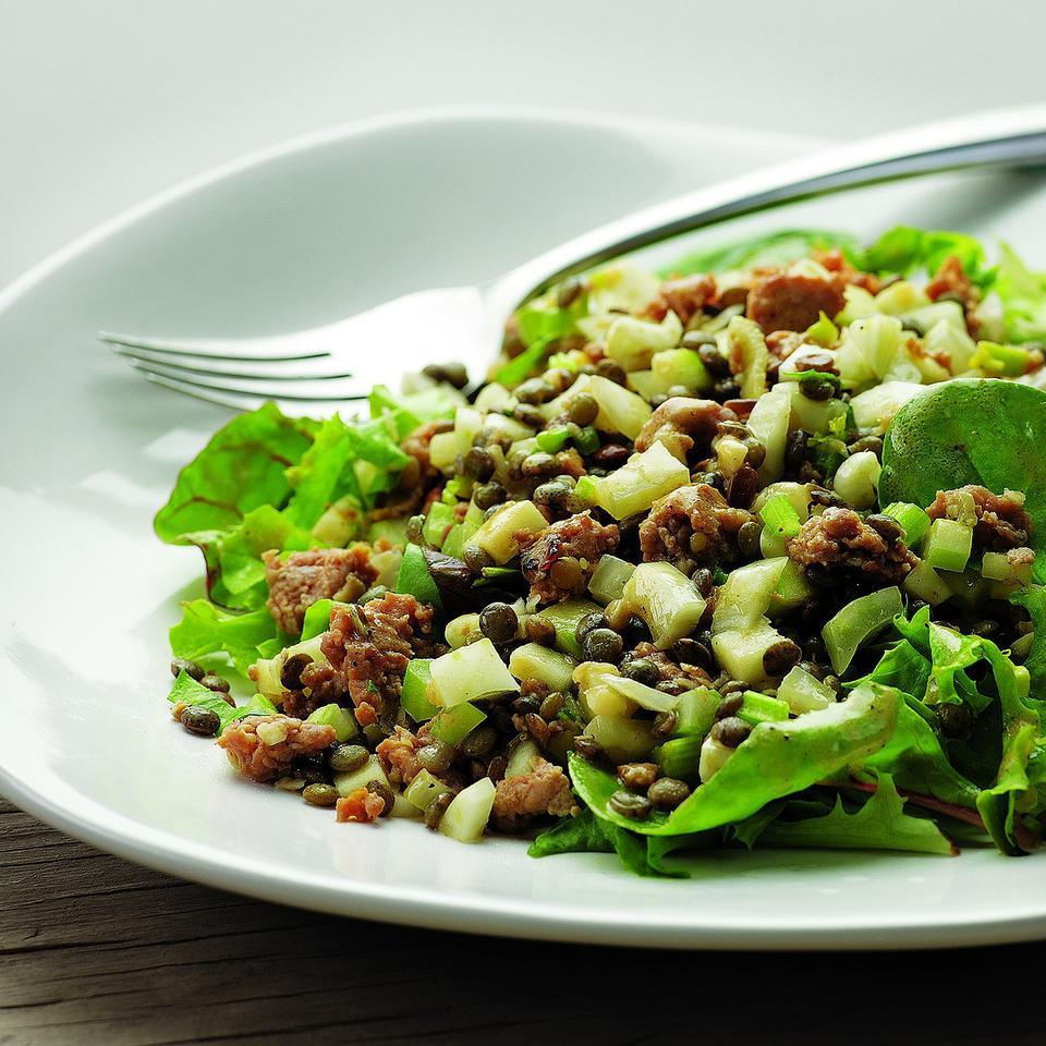 Warm Lentil Salad with Sausage & Apple for Two EatingWell Test Kitchen