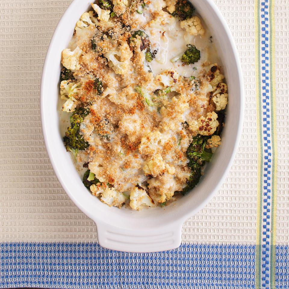 This creamy broccoli-and-cauliflower casserole is a hassle-free side dish that just about everyone loves. Our healthier version skips the heavy cream and butter found in most recipes--saving about 160 calories and 12 grams of saturated fat compared to a traditional version.