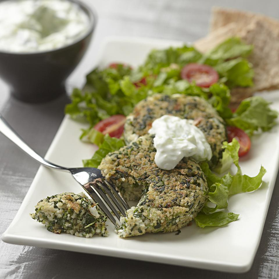 Feta & Spinach Couscous Patties EatingWell Test Kitchen