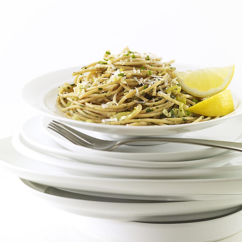 This simple pasta recipe has bold lemony flavor. It's nice with a salad for a light supper or serve it along with seared fish, shrimp or chicken. Vary it as you please--add a bit of crumbled goat cheese, chopped rinsed capers, shelled edamame or thin strips of yellow bell pepper.