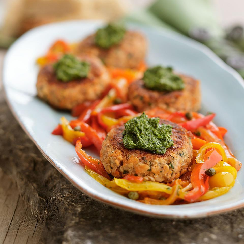 Canned wild salmon is the base for these fast, delicious salmon cakes. Serve them over mixed greens or with sauteed bell peppers and a piece of toasty focaccia. Source: EatingWell Magazine, March/April 2012