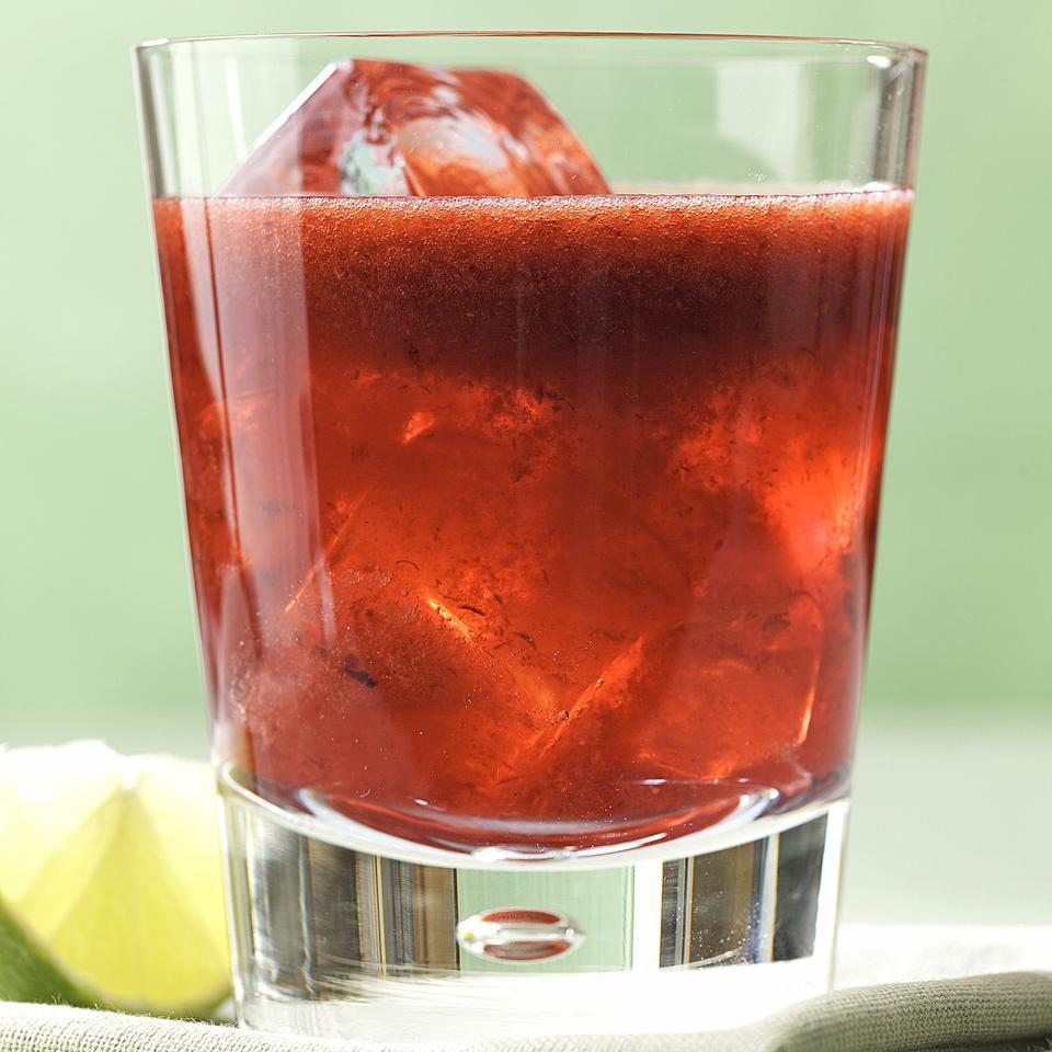 Gin, seltzer, bitters, lime juice, cherries and simple syrup combine for a truly refreshing cocktail in this gin rickey recipe. For a nonalcoholic rickey, omit the gin and add a little more seltzer. Source: EatingWell Magazine, May/June 2012