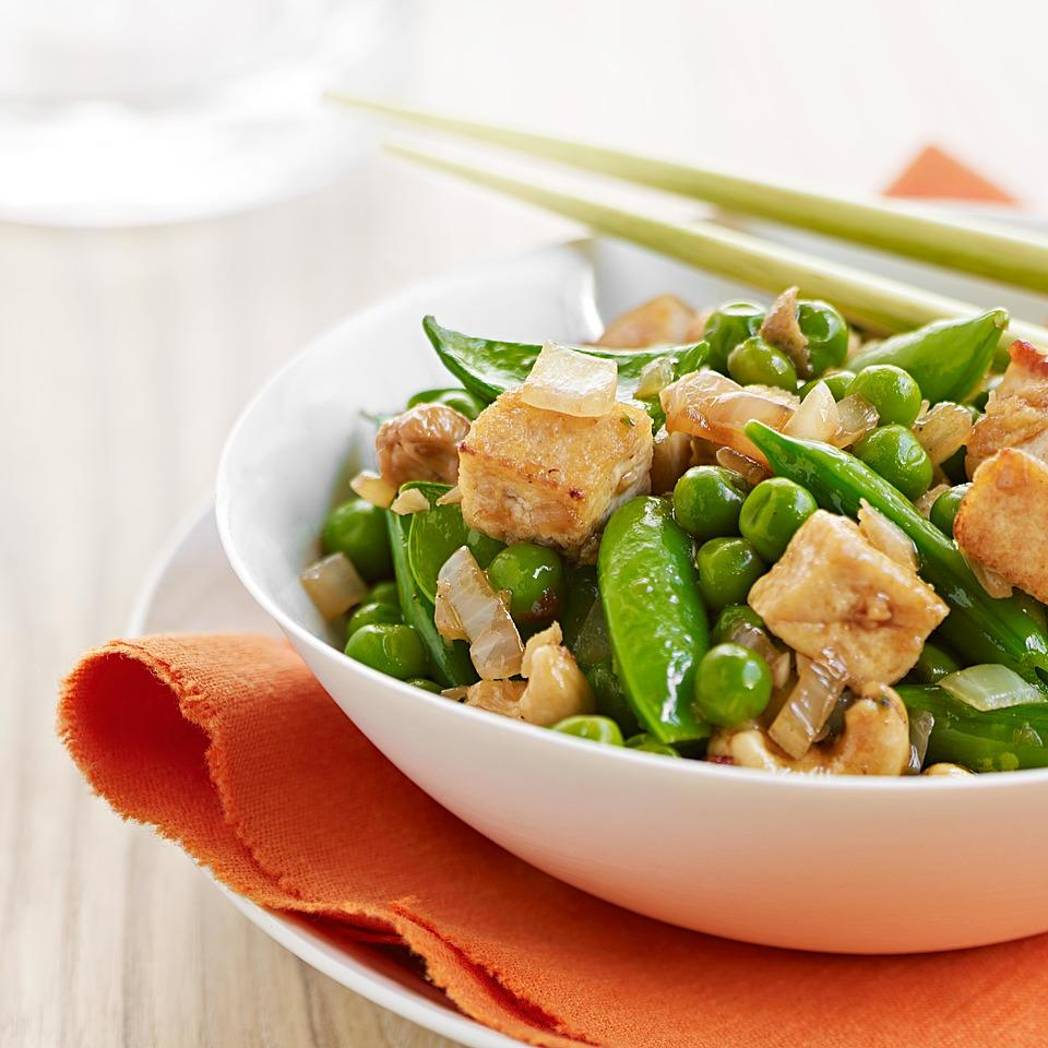 Three-Pea, Cashew & Tofu Stir-Fry David Bonom