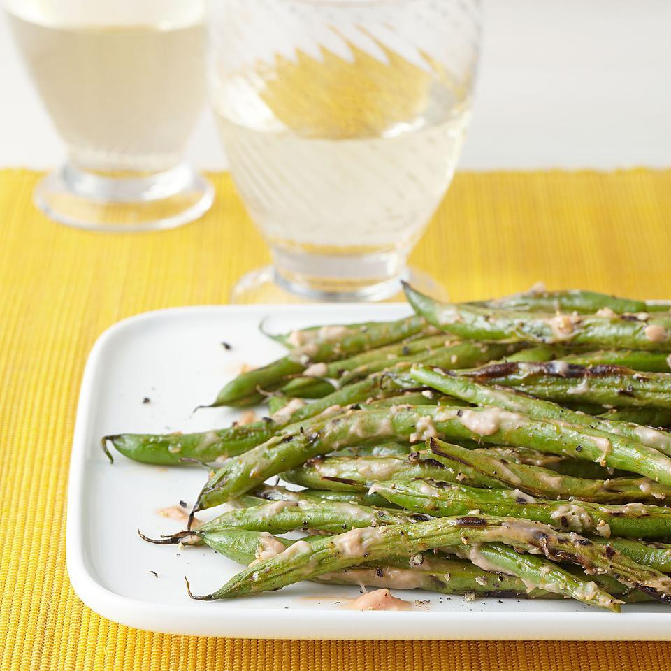 Grilled Green Beans with Horseradish Ketchup EatingWell Test Kitchen