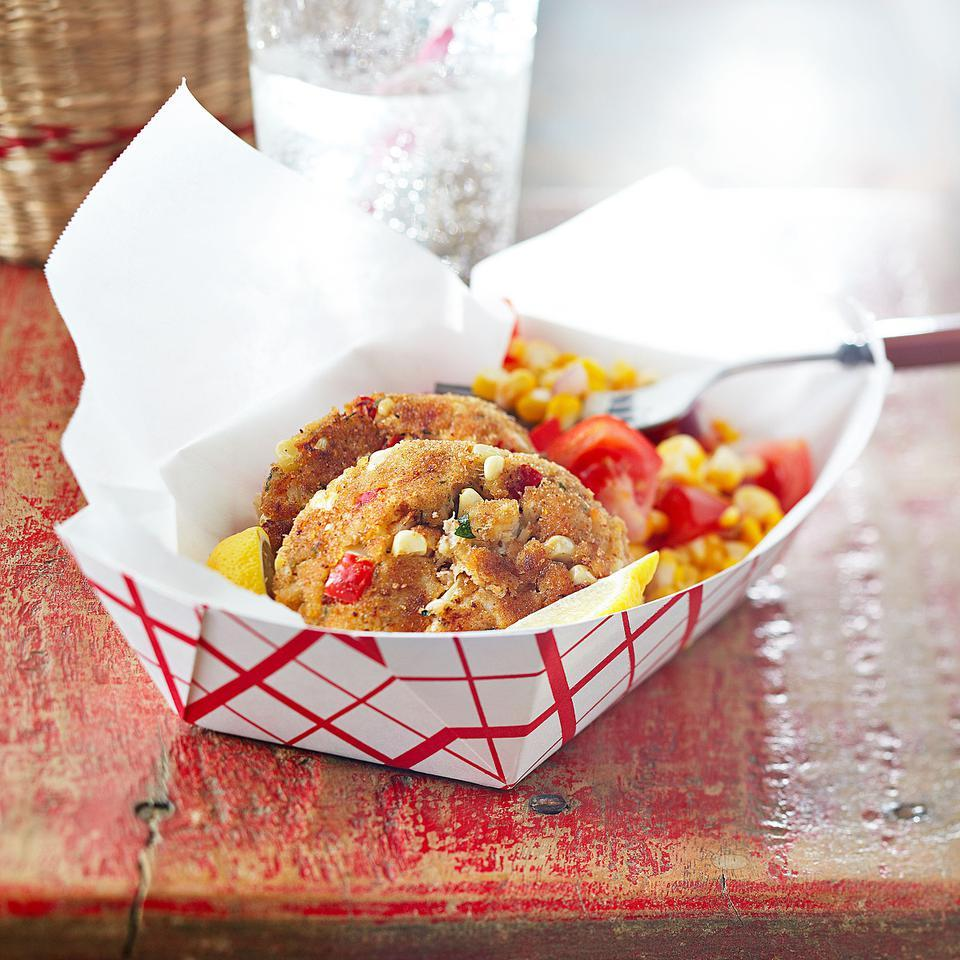 This corn and crab cakes recipe tastes like summer by the shore. The tomato and corn salad that accompanies them is a lively addition. Source: EatingWell Magazine, July/August 2012