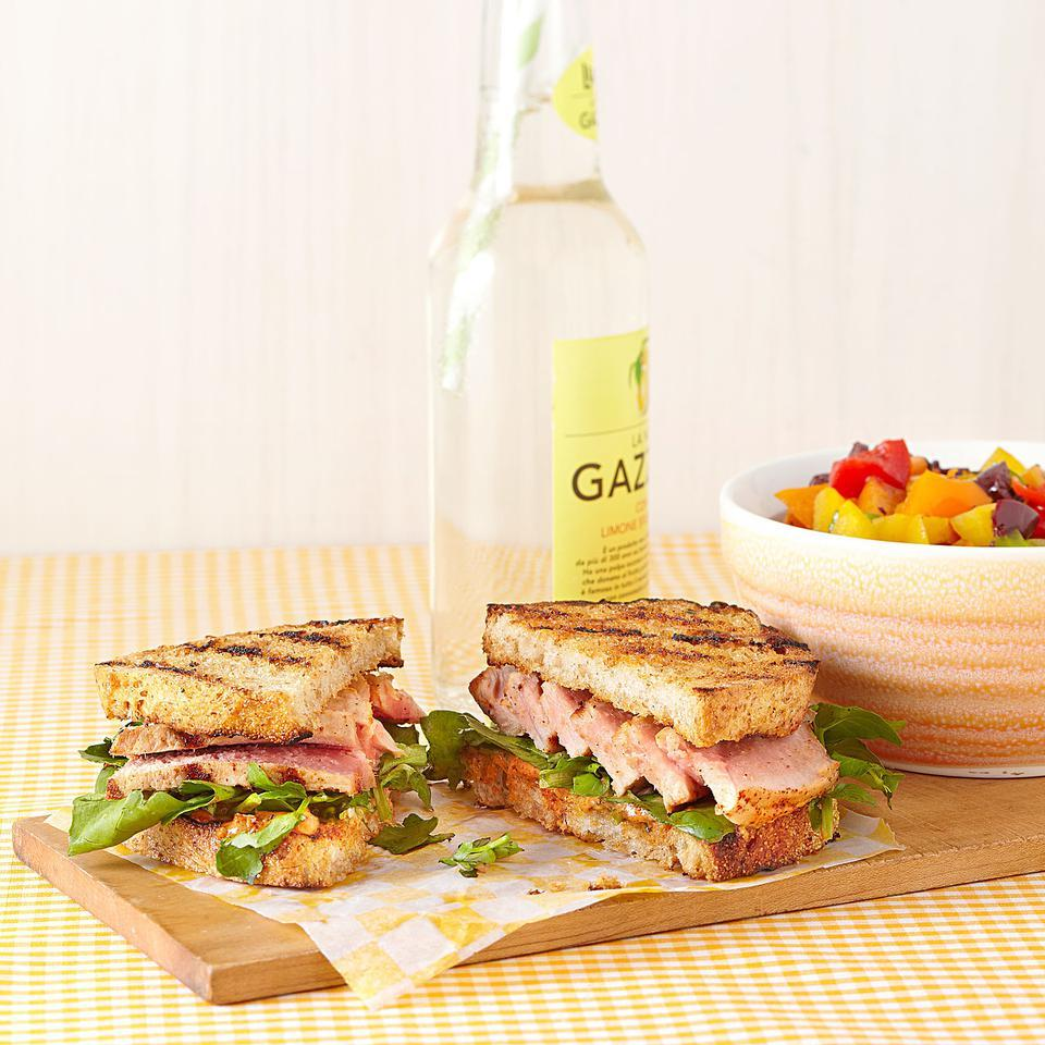 Grilled Tuna Sandwich with Lemon-Chili Mayo for Two EatingWell Test Kitchen