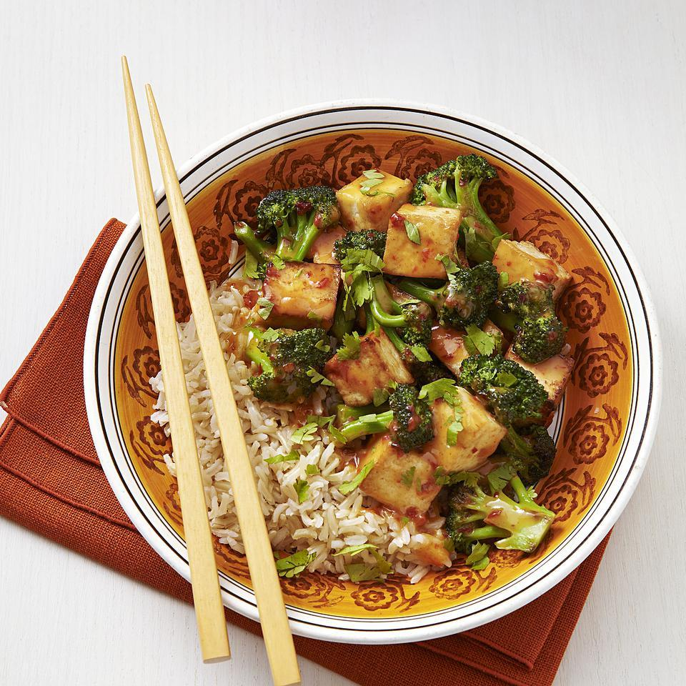 Chipotle peppers add kick to this tofu and broccoli stir-fry recipe. If you're shy about spice, cut back on the amount or leave them out completely. Serve over brown basmati rice. Source: EatingWell Magazine, September/October 2012