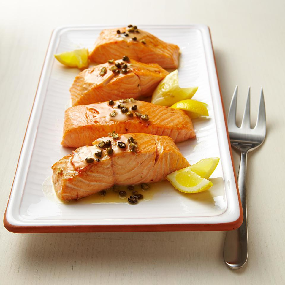 In this recipe for two, a simple sauce of piquant green peppercorns, lemon juice and butter tops seared salmon. Green peppercorns come from the same plant as black ones, but are harvested before they mature. Typically packed in vinegar, they have a refreshingly sharp flavor. Look for them near the capers in most supermarkets. Serve with smashed red potatoes and sautéed kale. Source: EatingWell Magazine, September/October 2012