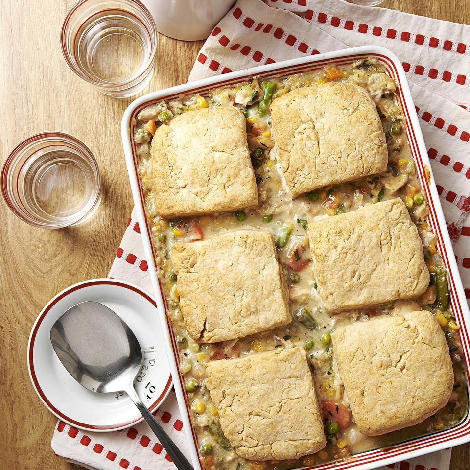 In this lightened-up recipe for chicken potpie, creamy chicken stew is topped with flaky biscuits for quintessential comfort food. Our recipe for chicken potpie takes advantage of convenient frozen mixed vegetables to keep it quick. Source: EatingWell Magazine, September/October 2012