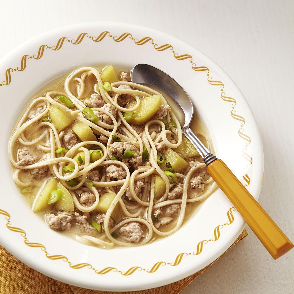 Apples and mild white miso lightly sweeten this easy noodle soup recipe. It's got plenty of flavor with few ingredients, but feel free to add a dash of hot sauce for zing. Serve with a watercress salad. Source: EatingWell Magazine, September/October 2012