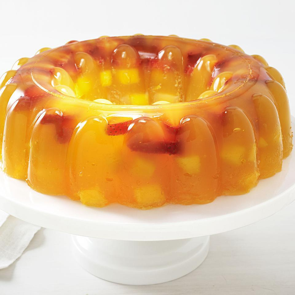 Tropical mango and sweet strawberries are the perfect marriage in this pretty, crowd-pleasing jello recipe. We like the subtle tang the orange juice provides in this strawberry jello recipe, but using all mango juice works well too. Source: EatingWell Magazine, September/October 2012