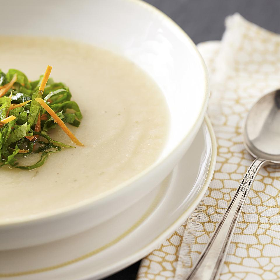 In this recipe, the humble turnip is transformed into a rich turnip soup made creamy with just 1 tablespoon of butter. Serve it as a starter or side soup. The mini salad on top is optional, but we love the bit of texture from the greens and pop of flavor from the vinaigrette.