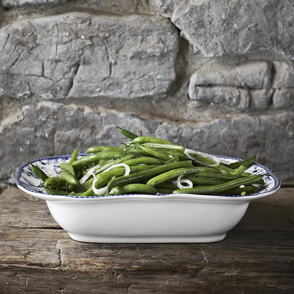 This slightly sweet, slightly sour green bean recipe takes just a few minutes to make and is great served at room temperature. Make it ahead and let the green beans bathe in the dressing, soaking up flavor.