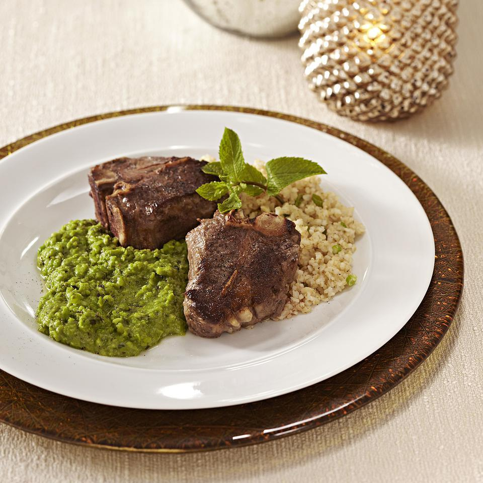 Lamb Chops with Mashed Peas & Mint EatingWell Test Kitchen