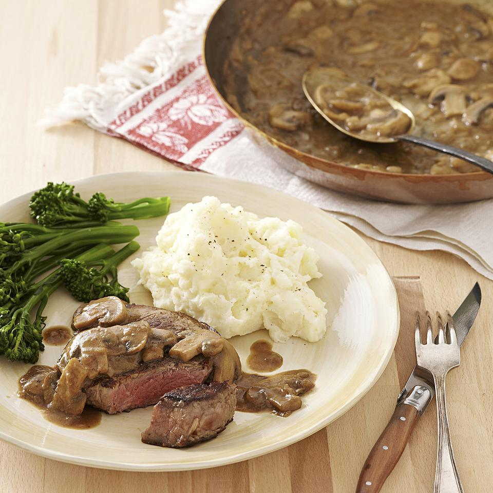 Seared Steak with Mustard-Mushroom Sauce EatingWell Test Kitchen