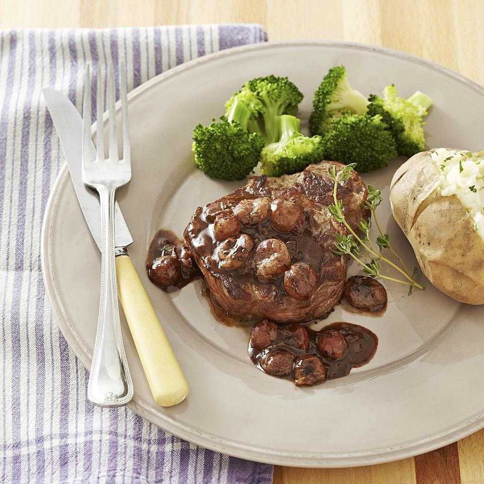 This recipe for quick pan-seared steak with a savory-sweet port wine and grape sauce makes a delicious weeknight dinner.