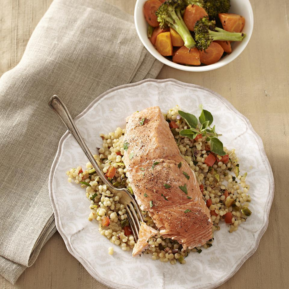 You need only one skillet for this meal of wild salmon fillets and Israeli couscous pilaf. For added fiber, look for Israeli couscous made with whole-wheat flour. Serve with roasted carrots and broccoli with cumin.