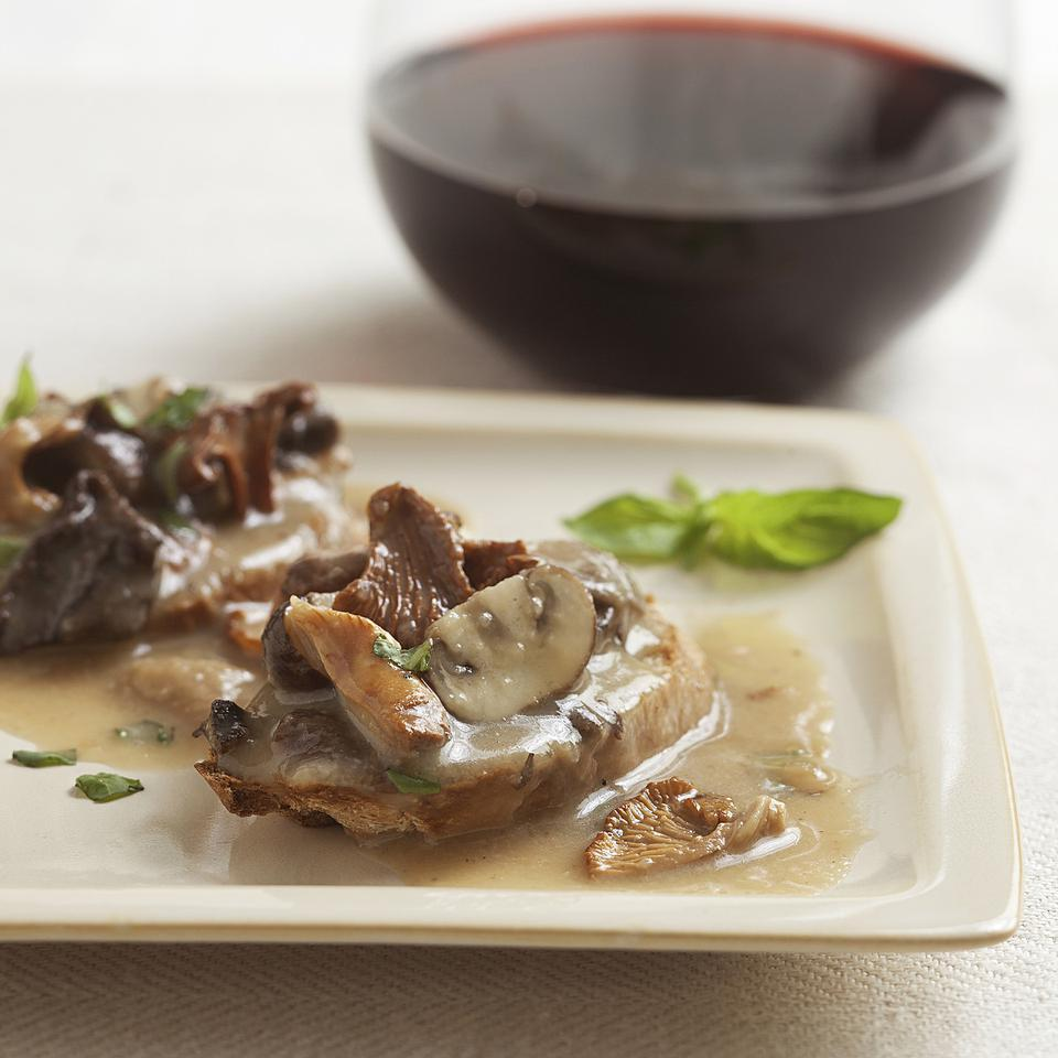 Serve these rich and savory mushroom toasts as a healthy appetizer with a fork and knife. Wild mushrooms give the topping the best flavor, but any type of mushroom will work in this healthy recipe for creamy wild mushroom toast points. This recipe makes more Cream Sauce without the Cream than you'll need for the mushroom toasts. Refrigerate or freeze the extra sauce and use it in place of heavy cream in any sauce or soup that calls for cream. Source: EatingWell Magazine, January/February 2013