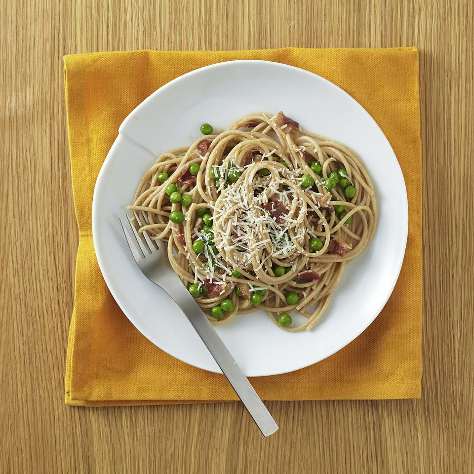 Spaghetti Carbonara with Peas for Two EatingWell Test Kitchen