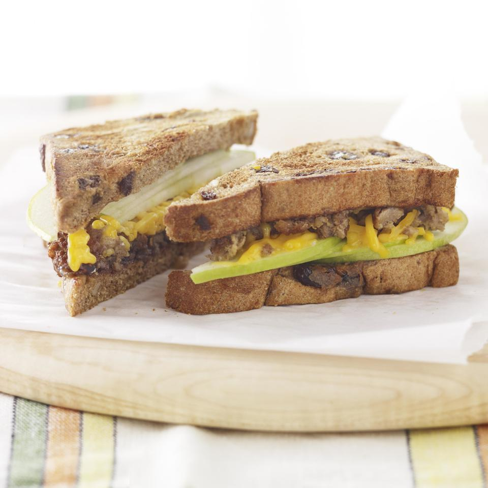 This healthy vegetarian breakfast-sandwich recipe comes together in 5 minutes, but has plenty of protein from a vegetarian sausage patty and fiber from the whole-wheat bread and apple to keep you satisfied all morning long. Source: EatingWell Magazine, March/April 2013